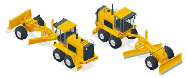Isometric Graders used in the construction and maintenance of dirt roads and gravel roads. Construction machinery. Equipment positioned on a white background Stock Photography