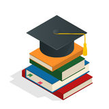 Isometric Graduation concept illustration. Heap of book graduate cap on top book license stationery. Royalty Free Stock Photography