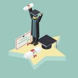Isometric graduation scene Student Holds Diploma Stock Image