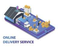 Isometric grafika Online Doręczeniowej usługi projekta pojęcie royalty ilustracja