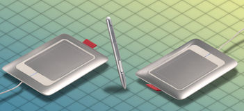 ISOMETRIC Graphic tablet Stock Photo