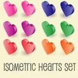 Isometric graphics of heart icons set Stock Photos