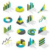 Isometric Graphs Icon Set Royalty Free Stock Images