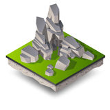 Isometric gray cliffs, ricks and stones Royalty Free Stock Images