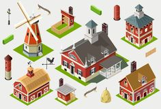 Isometric Great American Barn Set Tiles Royalty Free Stock Photography