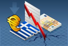 Isometric greece crisis. With euro crash Stock Photography