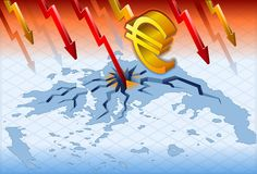 Isometric greece crisis. With euro crash Royalty Free Stock Images