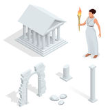 Isometric Greek temple, Greek goddess of beauty Aphrodite. Acropolis of Athens ancient monument in Greece. Flat cartoon Stock Photography