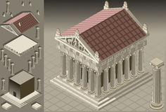 Isometric Greek Temple (Ionic Architecture) stock illustration