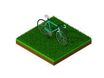 Isometric green bicycle on green grass. Concept Royalty Free Stock Photo