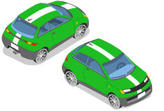 Isometric green car. In two position Stock Image