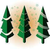 Isometric green christmas tree with snowflakes vector stock illustration