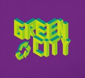 Isometric Green City quote background Royalty Free Stock Images