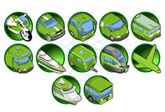 Isometric green icon. Set of isometric green icon of travel and tourism Royalty Free Stock Image