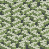 Isometric green maze in pixel art style. Stock Photo