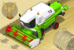 Isometric Green Thresher at Work in Front  View Stock Photo