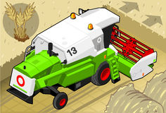 Isometric Green Thresher at Work in Rear View Royalty Free Stock Photo