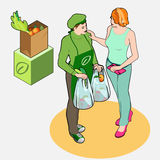 Isometric Greengrocer Shop - Owner and Customer Women. Detailed illustration of a Isometric Greengrocer Shop - Owner and Customer Women Royalty Free Stock Images