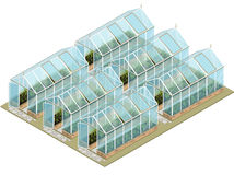 Isometric greenhouse farm with glass walls and foundations.