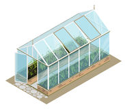 Isometric greenhouse with glass walls, foundations, gable roof, garden bed. Isometric greenhouse with glass walls, foundations, gable roof, garden bed, white Stock Photo