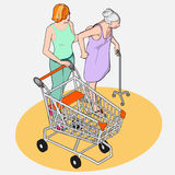 Isometric Grocery Shopping - Adult and Senior Women with Shoppin Royalty Free Stock Photography