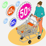 Isometric Grocery Shopping - Sale - Walking Woman with Empty Shopping Cart and Discounts. Detailed illustration of Isometric Grocery Shopping - Sale - Walking vector illustration