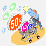 Isometric Grocery Shopping - Sale - Woman Collecting Discounts w. Detailed illustration of Isometric Grocery Shopping - Sale - Woman Collecting Discounts with stock illustration