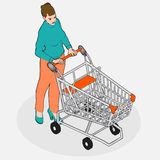Isometric Grocery Shopping - Walking Woman with Empty Shopping C Stock Photo