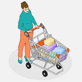 Isometric Grocery Shopping - Walking Woman with Full Shopping Ca Royalty Free Stock Image