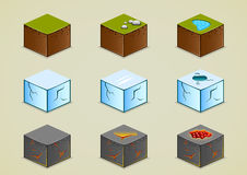 Isometric ground collection set two. Set of nine isometric grounds Royalty Free Stock Photos