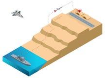 Isometric Gruntowy Szturmowy pocisk, dalekonośny, pogoda, poddźwiękowy pocisk manewrujący Pocisk wszczynający od okrętu wojennego Zdjęcia Royalty Free