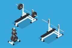 Isometric gym equipment Royalty Free Stock Photos
