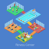 Isometric Gym Fitness Club Sport Center Interior with Cardio Room, Gym and Water Pool Stock Photography