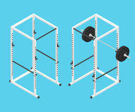 Isometric gym power rack and barbell Royalty Free Stock Photos