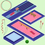 Isometric gymnastics tools. Sports elements in vector Royalty Free Stock Photos