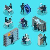 Isometric Hacking Activity Elements Set. With hackers stealing money information infected computer by viruses trojans  vector illustration Stock Image