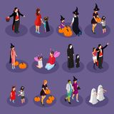 Isometric Halloween Holiday Collection. With people wearing hats and costumes of vampire witch ghost fairy devil isolated vector illustration Stock Photos