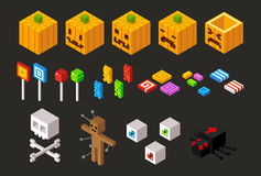 Isometric Halloween items set Stock Photo