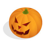 Isometric Halloween pumpkin head jack lantern. Halloween night blurred background with pumpkin. Royalty Free Stock Image