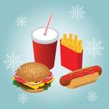 Isometric hamburguer, hot dog z koksowniczą sodą z słomianymi francuskimi dłoniakami Zima fasta food gość restauracji Fast food w Obraz Royalty Free