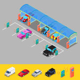 Isometric Hand Car Wash with Vacuum Cleaners. Driver Washing Car Stock Images