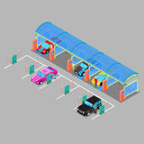 Isometric Hand Car Wash with Vacuum Cleaners. Driver Washing Car Stock Image