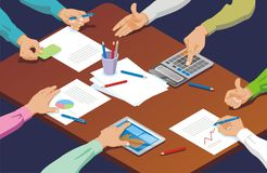 Isometric Hand Gestures Business Concept Royalty Free Stock Photo