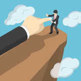 Isometric hand push businessman to fall the from cliff. vector illustration