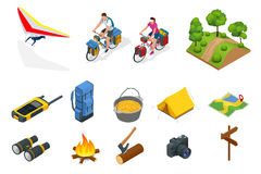 Isometric hang glider, bikers on bicycle with travelling bag for travel, Camping equipment  on white Vector Stock Photo