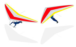 Isometric Hang glider soaring the thermal updrafts suspended on a harness below the wing, isolated on white. Stock Photos
