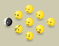 Isometric happy face bubbles game elements Stock Photo