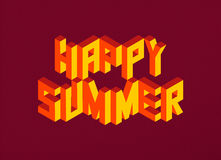 Isometric Happy Summer quote background Royalty Free Stock Photo