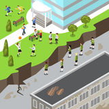 Isometric happy vs unhappy school flat 3d vector i. Isometric happy prosperous vs dysfunctional unhappy dirty school flat 3d vector illustration. Good or bad Stock Photos