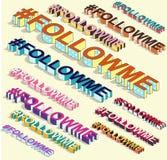 Isometric hashtag - followme Internetowy blogging Obrazy Royalty Free